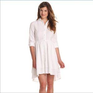 PINK TARTAN White Seersucker Two Tier Shirt Dress